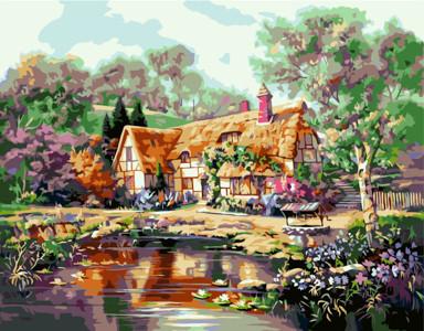 Картина по номерам Дом бабушки, в термопакете 40*50см Стратег код: VA-0204