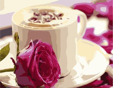 Картина по номерам Утреннее кофе, в термопакете 40*50см Стратег код: VA-0228