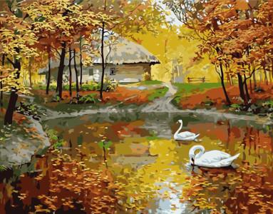 Картина по номерам Осеннее озеро, в термопакете 40*50см Стратег код: VA-0276