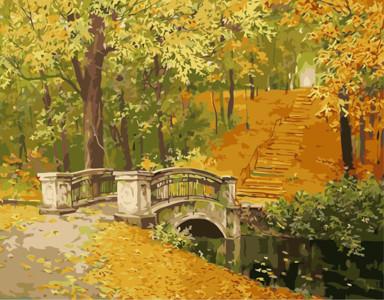 Картина по номерам Мост в осень, в термопакете 40*50см Стратег код: VA-0277