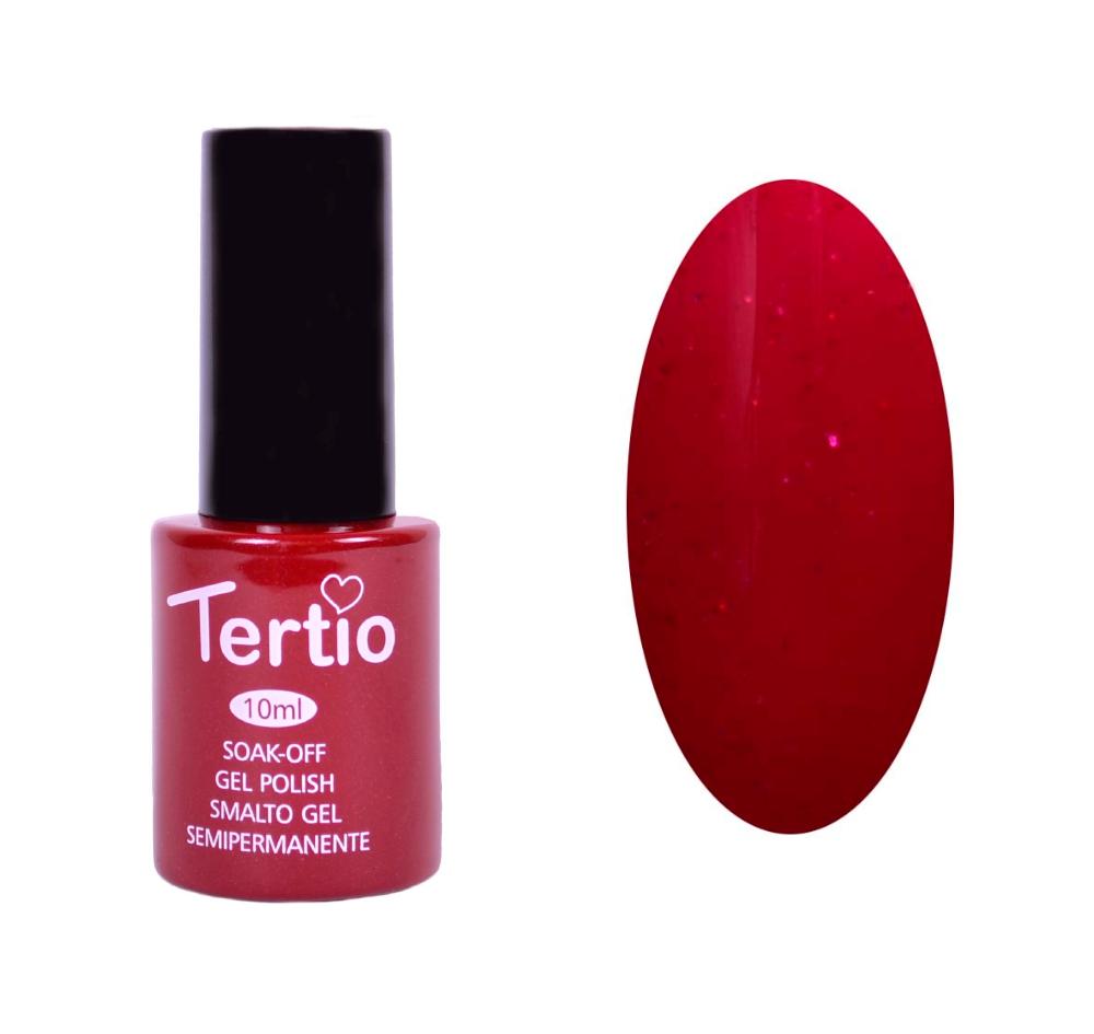 Гель-лак №092 Tertio,  Темно-красный с розовым микроблеском