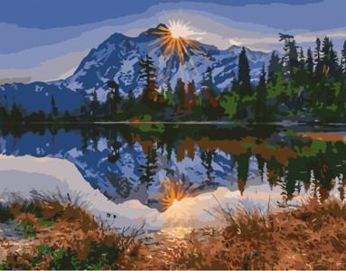 Картина по номерам Горы у озера, в термопакете 40*50см Стратег код: VA-0311