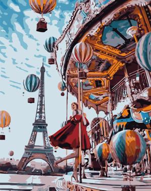 Картина по номерам Воздушные шары и карусель, в термопакете 40*50см Стратег код: VA-0489