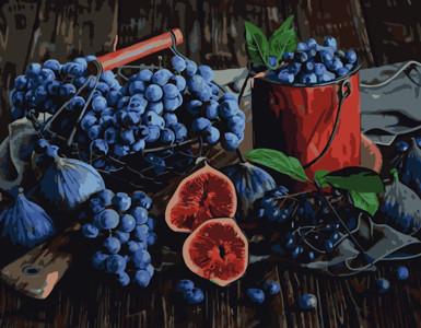Картина по номерам Виноград и инжир, в термопакете 40*50см Стратег код: VA-0507