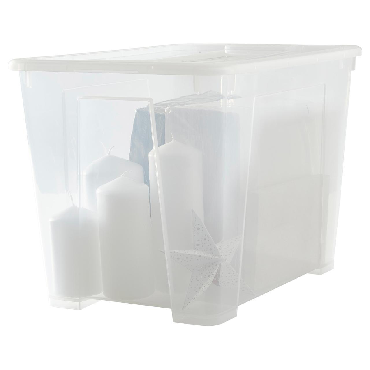 IKEA SAMLA (798.508.75) Коробка с крышкой, прозрачная