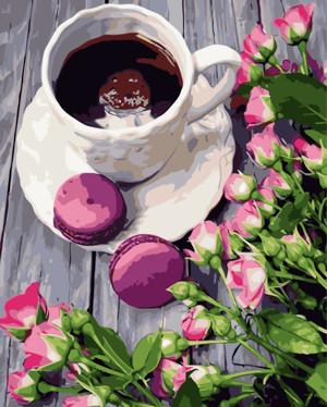 Картина по номерам Кофе с макарунами, в термопакете 40*50см Стратег код: VA-0780