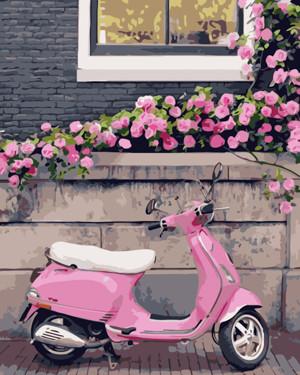 Картина по номерам Розовый скутер, в термопакете 40*50см Стратег код: VA-0863
