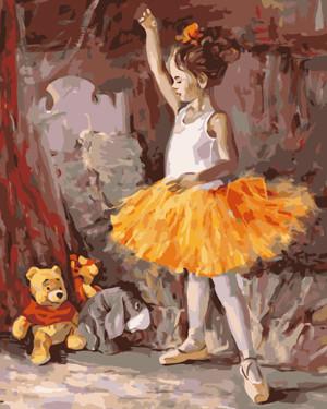 Картина по номерам Маленькая балерина, в термопакете 40*50см Стратег код: VA-1073