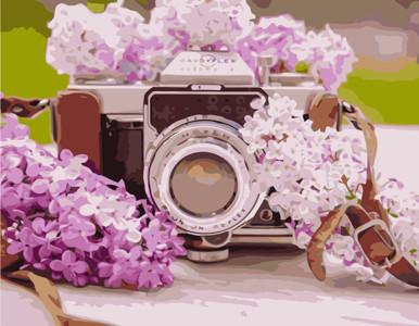Картина по номерам Фотоаппарат с сиренью, в термопакете 40*50см Стратег код: VA-1080