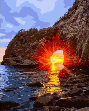 Картина по номерам Заход солнца, в термопакете 40*50см Стратег код: VA-1194