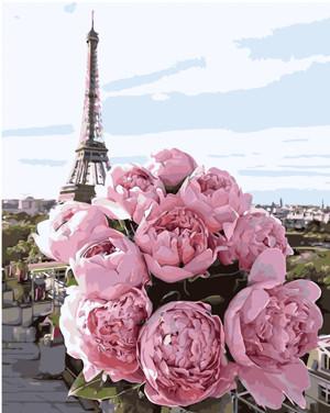 Картина по номерам Пионы на фоне Парижа, в термопакете 40*50см Стратег код: VA-1204