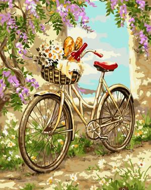 Картина по номерам Велосипед в саду, в термопакете 40*50см Стратег код: VA-1286