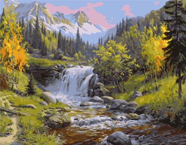 Картина по номерам Лесной водопад, в термопакете 40*50см Стратег код: VA-1510