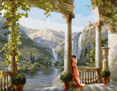 Картина по номерам Девушка возле колонны, в термопакете 40*50см Стратег код: VA-1514