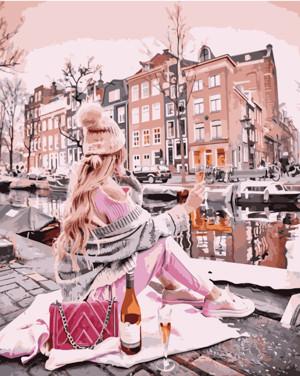 Картина по номерам Девушка с вином возле канала, в термопакете 40*50см Стратег код: VA-1541
