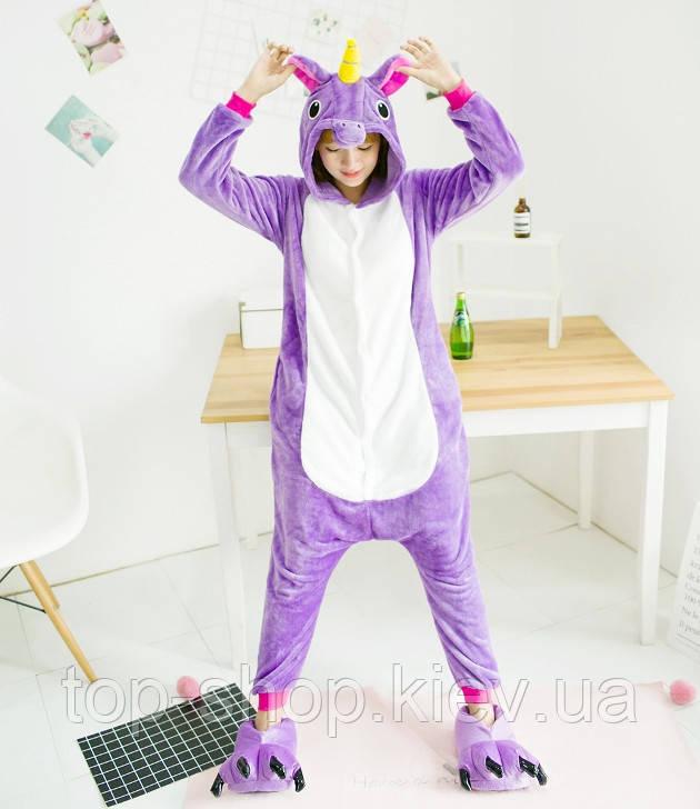 Пижама кигуруми для взрослых единорог фиолетовый S, M