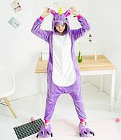 Пижама кигуруми для взрослых единорог фиолетовый S, M, фото 1