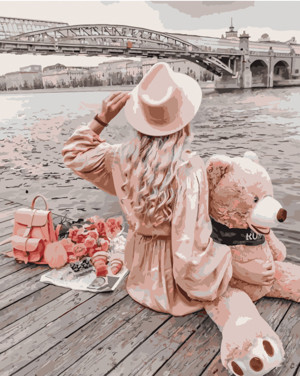 Картина по номерам Девушка с медведем возле моста, в термопакете 40*50см Стратег код: VA-1560