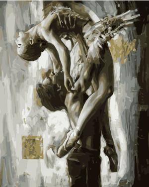 Картина по номерам Пара в балетной поддержке в Ч/Б, в термопакете 40*50см Стратег код: VA-1573