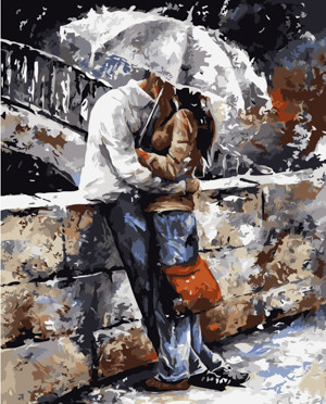 Картина по номерам Поцелуй под зонтом, в термопакете 40*50см Стратег код: VA-1589