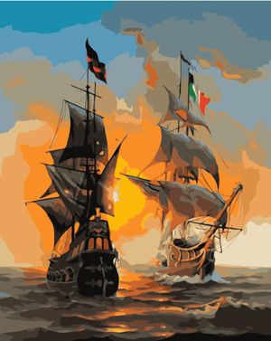 Картина по номерам Встреча кораблей на закате, в термопакете 40*50см Стратег код: VA-1625