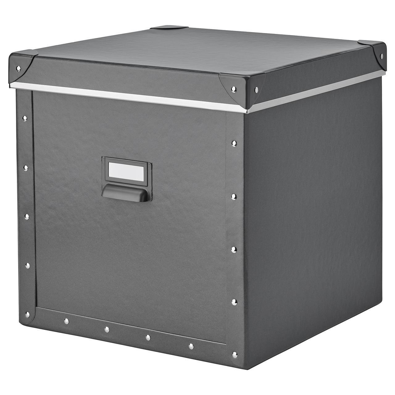 IKEA FJALLA (204.040.19) Коробка с крышкой, темно-серый