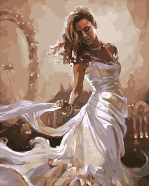 Картина по номерам Девушка в белом, в термопакете 40*50см Стратег код: VA-1708