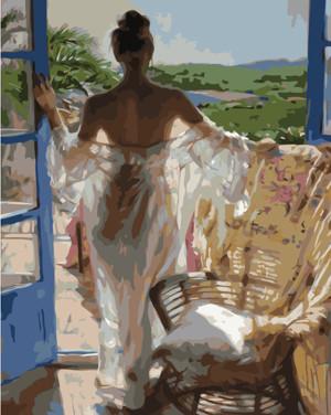 Картина по номерам Утро в тропиках с девушкой, в термопакете 40*50см Стратег код: VA-1710