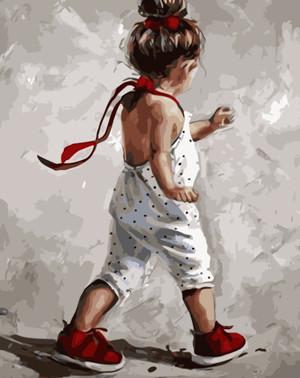 Картина по номерам Девочка в красных сапожках, в термопакете 40*50см Стратег код: VA-1730