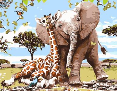 Картина по номерам Слоненок и жираф - лучшие друзья, в термопакете 40*50см Стратег код: VA-1733