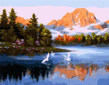 Картина по номерам Лебеди на горном озере, в термопакете 40*50см Стратег код: VA-1772