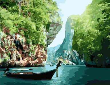 Картина по номерам Тропическая сказка Краби в Таиланде, в термопакете 40*50см Стратег код: VA-1779