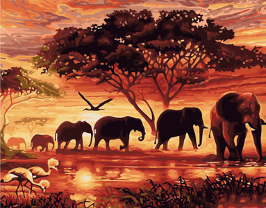 Картина по номерам Африка, в термопакете 40*50см Стратег код: VA-2104