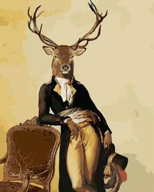 Картина по номерам Поп-арт: Олень-аристократ, в термопакете 40*50см Стратег код: VA-2125