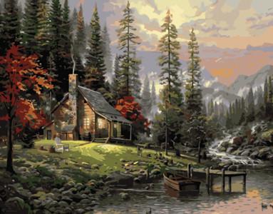Картина по номерам Домик в лесу, в термопакете 40*50см Стратег код: VA-2127