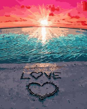 Картина по номерам Love на песке, в термопакете 40*50см Стратег код: VA-2152