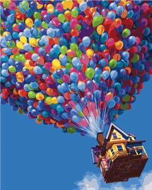 Картина по номерам Дом с шариками, в термопакете 40*50см Стратег код: VA-2184