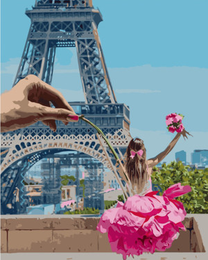 Картина по номерам Девушка в Париже, в термопакете 40*50см Стратег код: VA-2250