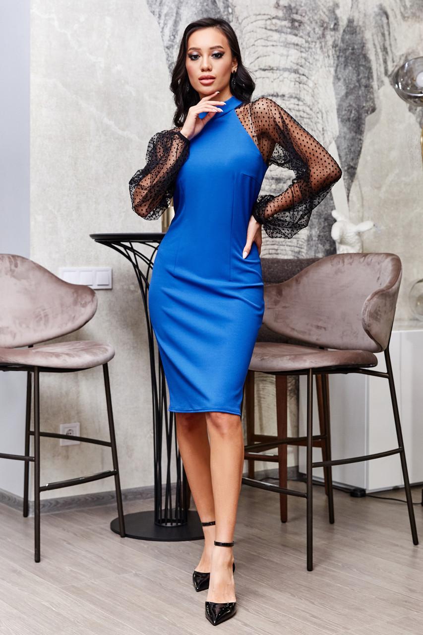 Синее клубное платье с объемными рукавами из сетки