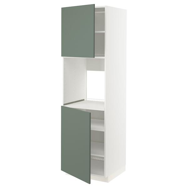 METOD МЕТОД Висока шафа для дух, 2 дверцят/пол - білий/БОДАРП сіро-зелений - IKEA