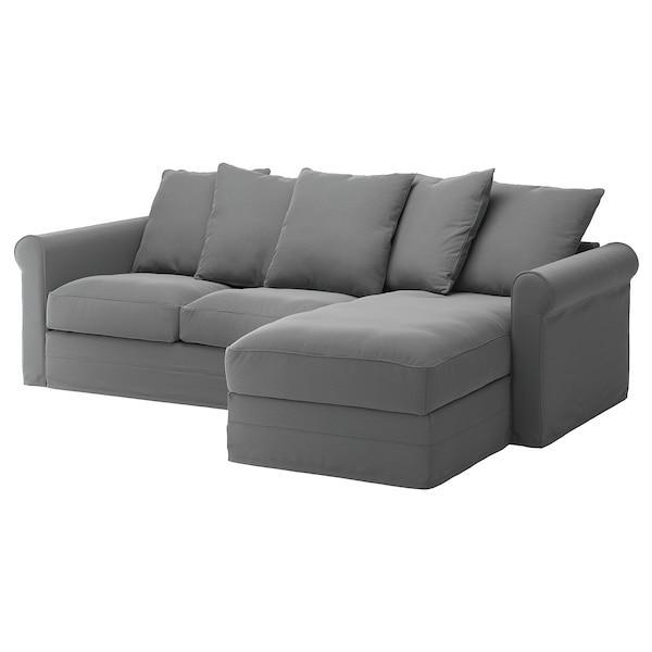 GRÖNLID ГРЕНЛІД 3-місний диван - з кушеткою/ЛЬЙУНГЕН класичний сірий - IKEA
