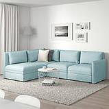 VALLENTUNA ВАЛЛЕНТУНА Модуль кутів 3-місного дивана-ліжка - відділення д/зберігання/ХІЛЛАРЕД світло-, фото 2
