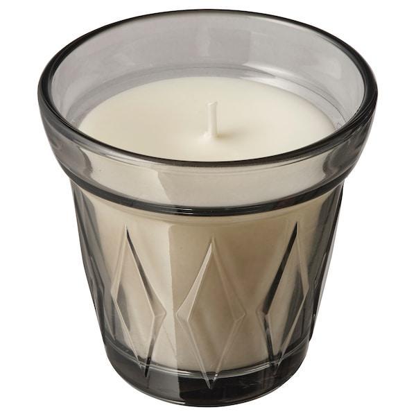 VÄLDOFT ВЕЛЬДОФТ Свічка ароматична у склянці - Сіль та цукор/сірий - IKEA