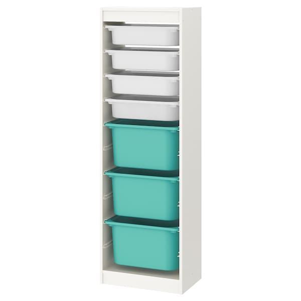 TROFAST ТРУФАСТ Комбінація для зберіган +контейнери - білий/білий бірюзовий - IKEA