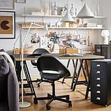 ELDBERGET ЕЛЬДБЕРГЕТ / MALSKÄR МАЛЬШЕР Стілець обертовий із подушкою - чорний/темно-сірий - IKEA, фото 7