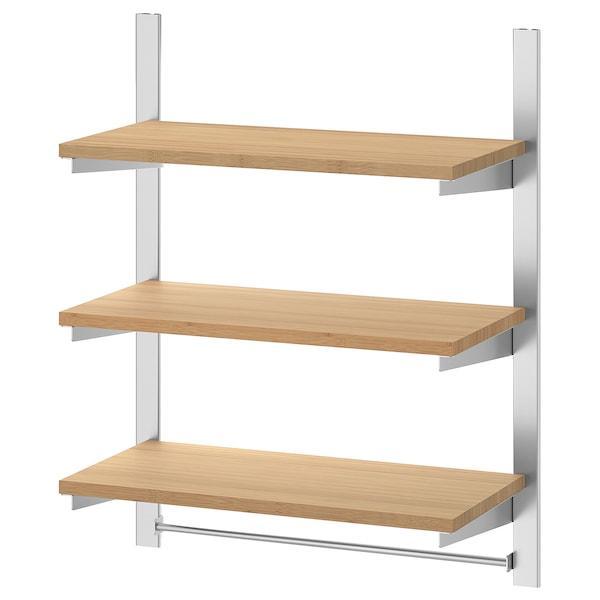 KUNGSFORS КУНГСФОРС Підвісна рейка з полицями і штангою - нержавіюча сталь/бамбук - IKEA