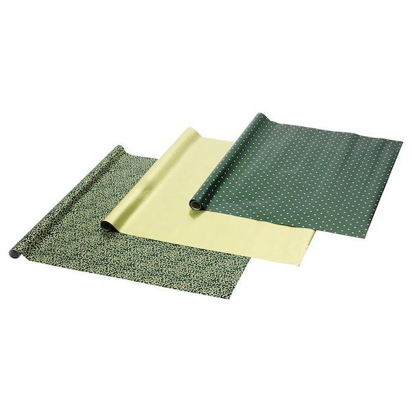 VINTER 2020 ВІНТЕР 2020 Рулон подарункового паперу - орнамент омела/горох зелений/золотавий - IKEA