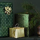 VINTER 2020 ВІНТЕР 2020 Рулон подарункового паперу - орнамент омела/горох зелений/золотавий - IKEA, фото 2