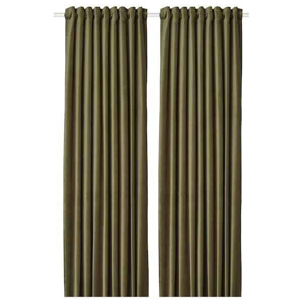 SANELA САНЕЛА Світлонепроникні штори, пара - оливково-зелений - IKEA
