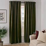 SANELA САНЕЛА Світлонепроникні штори, пара - оливково-зелений - IKEA, фото 2